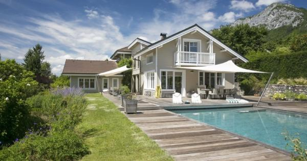 beautiful-contemporary-wood-villa-pool-for-sale-veyrier-du-lac-garden-terrace-bay-windows